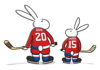 Maskoty hokejového šampionátu jsou Bob a Bobek, králíci z klobouku