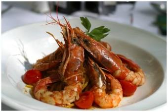 Tygří krevety na šafránových špaghetách, restaurace Giardino