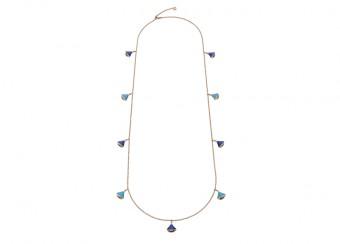 Sautoir z kolekce Diva provedený v 18karátovém růžovém zlatě zdobený tyrkysem a lapis lazuli