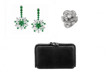 Náušnice a prsten z kolekce High Jewellery a Cocktail clutch, BVLGARI