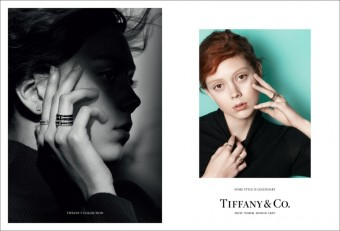 Model Natalie Westling wears Tiffany solitaire diamond earrings, Tiffany & Co.