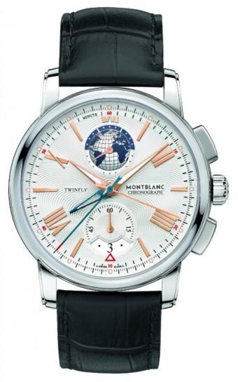 Montblanc 4810 TwinFly Chronograph 110 years Edition<br><br>Limitovaná edice 1110 ks. Mechanický strojek s automatickým nátahem, chronograf s vlečnou ručkou, rezerva nátahu přibližně 72 hodin, vteřinovka a datum na pozici 6 (datum označuje červený trojúhelník), druhá časová zóna na pozici 12 s 24 hodinovým číselníkem a indikátorem dne/noci, ocelové pouzdro vel. 43 mm, hvězdička Montblanc na korunce, stříbřitě bílý číselník s gilošováním, indexy hodin a ručky z červeného zlata s luminiscenční úpravou, modrá vteřinovka chronografu, černý řemínek z aligátora. Cena 196 000 Kč.