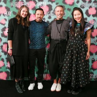 Oficiální představení kolekce KENZO x H&M v New Yorku, zleva: Ann-Sofie Johansson, Humberto Leon, Jean-Paul Goude, Carol Lim