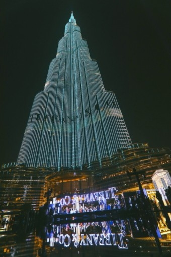 The Iconic Burj Khalifa lit in the legenadary Tiffany Blue, Tiffany & Co.