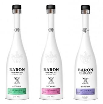 Ovocné pálenky Baron Hildprandt Hruškovice, Višňovice a Slivovice 4x destilovaná, Premier Wines & Spirits