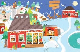 Vánoce ve Finsku; ilustrace z knížky Karoliny Medkové Vánoce z celého světa, kterou ilustrovala Mária Nerádová, foto kredit: Muzeum hlavního města Prahy