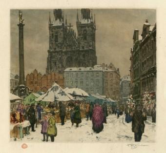 Tavík František Šimon (1877-1942), Trh na Staroměstském náměstí, repr. barevného leptu, Praha, Zdroj: archiv MMP