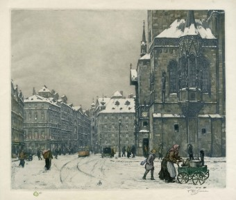 Tavík František Šimon (1877-1942), Pohled na Staroměstské náměstí v zimě, repr. obrazu, Praha, Zdroj: archiv MM