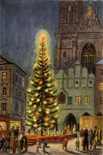 Vánoční stromek před kostelem Panny Marie před Týnem na Staroměstském náměstí, repr. vánoční pohlednice, 2. polovina 20. století, Praha, Zdroj: archiv MMP