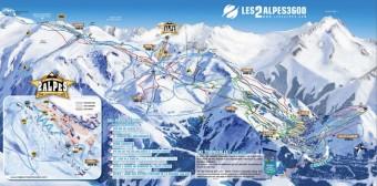 Mapa střediska Les 2 Alpes, foto zdroj: Beta tour