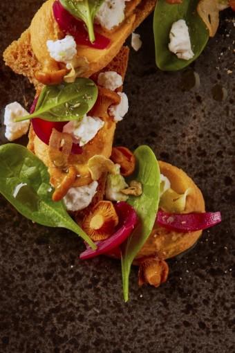 Bruschetta s nakládanými houbami, hummus z cizrny a rajčat, čerstvý kozí sýr a červená cibulka, Hergetova Cihelna