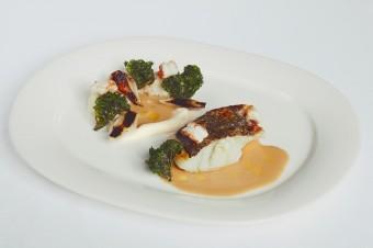 Skrei menu, treska s pečeným celerem, Restaurace Kampa Park