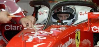 Nový ochranný prvek nad hlavou čtyřnásobného mistra světa Sebastiana Vettela z Ferrari, ilustrační foto: Sport1, Sport2