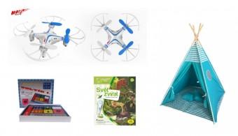 Vánoční tipy na dárky pro děti: RC Dron 10, elektronická stavebnice, kniha a teepee, TIPA.eu