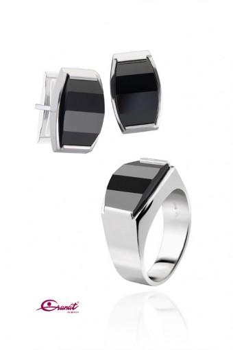 Granát Turnov - prsten a manžetové knoflíky