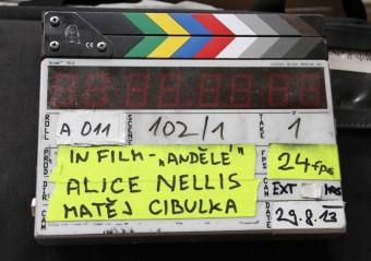 Klapka z natáčení filmu Andělé