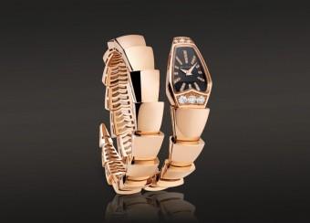 hodinky z růžového 18kt zlata zdobené diamanty z kolekce Serpenti