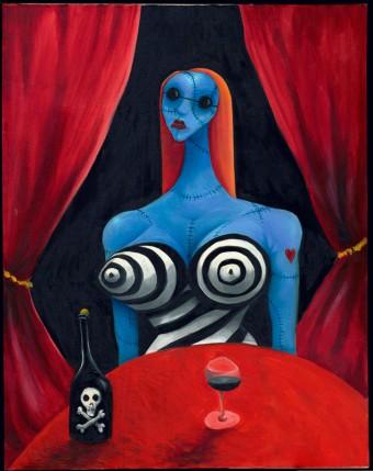 Blue Girl with Wine (studie, figurativní práce, olej na plátně, 71.1 x 55.9 cm, 1997, soukromá sbírka)